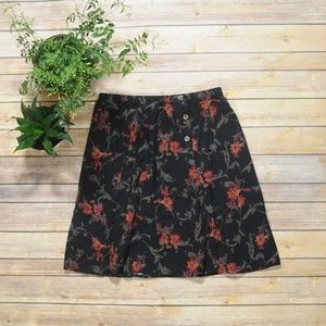 Vintage Black Skirt with Red Floral